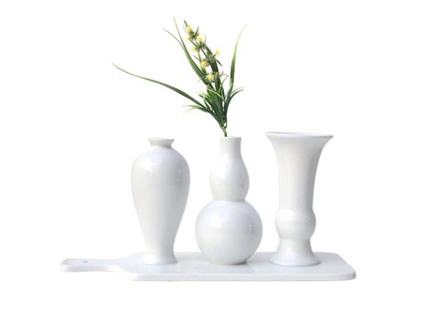 Vasen auf Tablet Weiß 3er Set