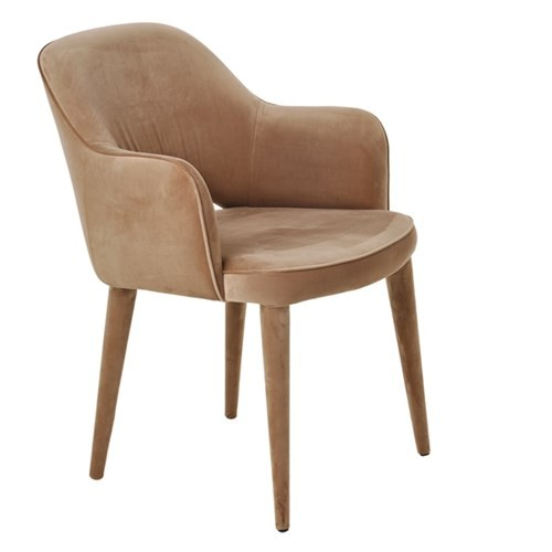 Velvet arms cosy chair - beige