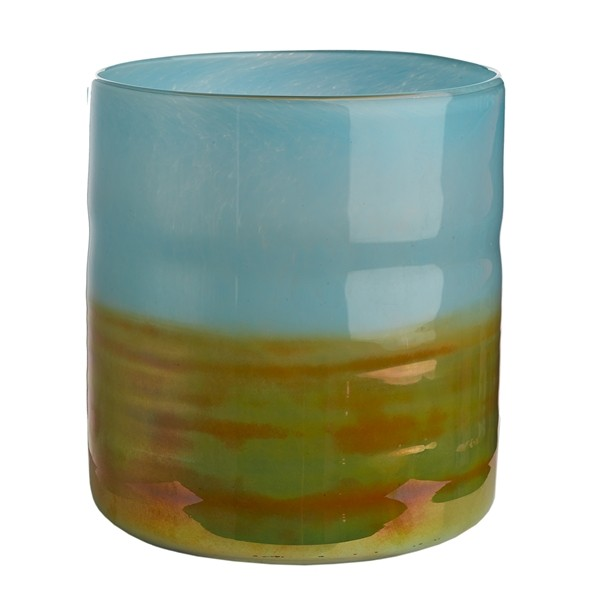 Vase horizon aqua gold low