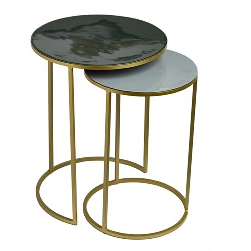 Sidetable enamel green+grey set 2