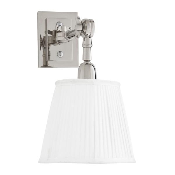 Wandlampe Wentworth Single Nickel mit weißem Schirm