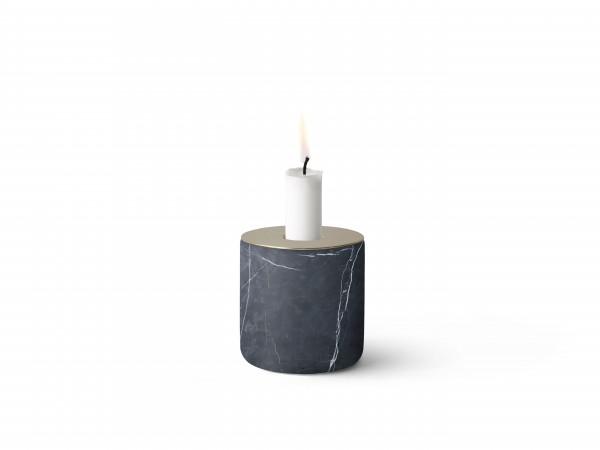 Kerzenständer Chunk of Marble L, schwarz mit Kupfer