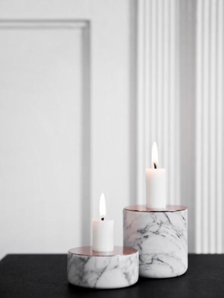 Kerzenständer Chunk of Marble L, weiß mit Kupfer
