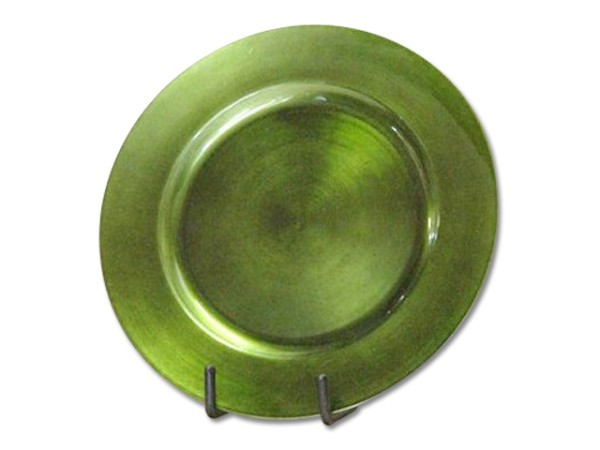 Set/6 Plates Metal Green