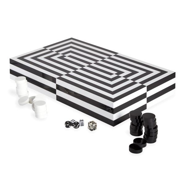 Op-Art Backgammon-Set - Schwarz/Weiß
